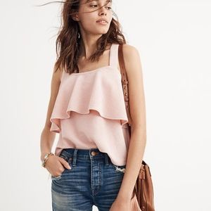 Madewell Pink Tiered Tank Top Size Small